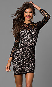 Image of sequin short black lace homecoming dress with sleeves. Style: MY-4650IW1C Front Image