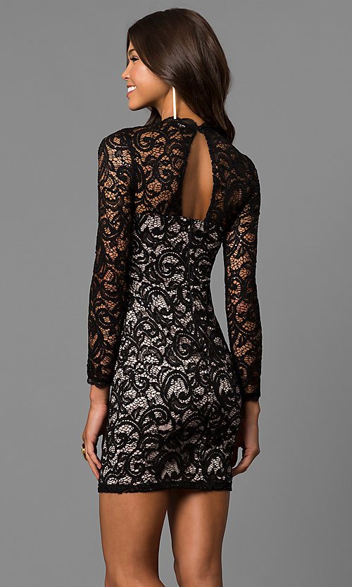 Image of sequin short black lace homecoming dress with sleeves. Style: MY-4650IW1C Back Image