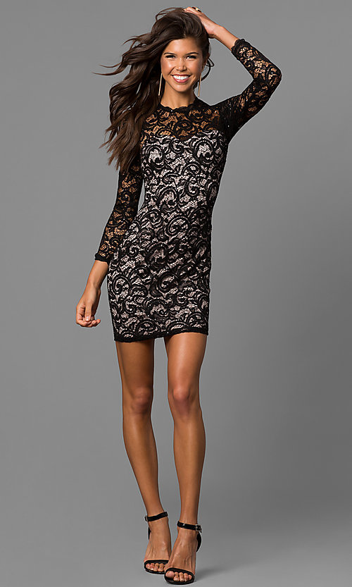 Image of sequin short black lace homecoming dress with sleeves. Style: MY-4650IW1C Detail Image 1