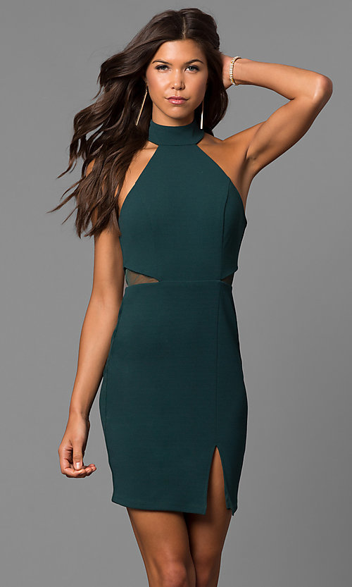 Cut Out Short Green Homecoming Party Dress
