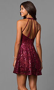 Image of sequined short merlot red homecoming party dress.  Style: MY-4672JM1P Back Image