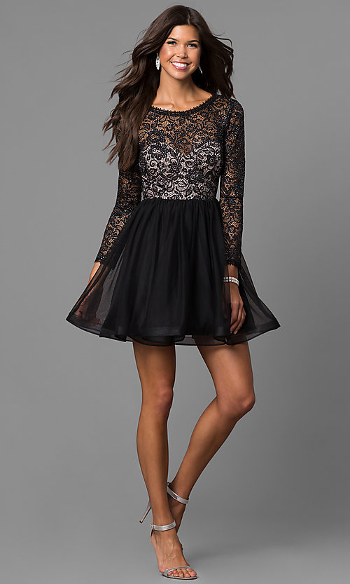 Long Sleeve Short Black Homecoming Dress With Lace