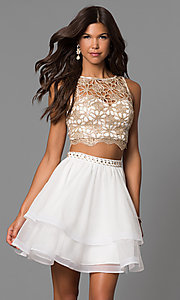 Image of short homecoming two-piece dress in ivory champagne. Style: MY-4679BH1P Front Image