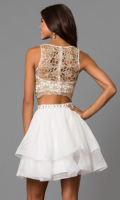 Image of short homecoming two-piece dress in ivory champagne. Style: MY-4679BH1P Back Image