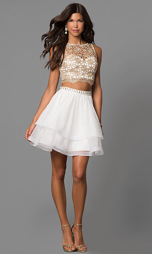 Image of short homecoming two-piece dress in ivory champagne. Style: MY-4679BH1P Detail Image 1