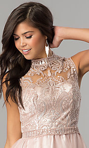 Image of mauve pink short homecoming party dress with sequins.  Style: MY-4680MT1P Detail Image 1