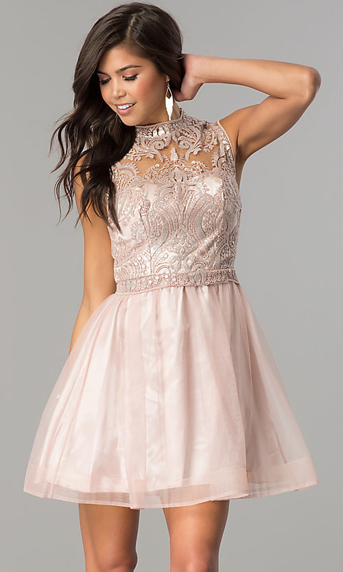 Image of mauve pink short homecoming party dress with sequins.  Style: MY-4680MT1P Front Image