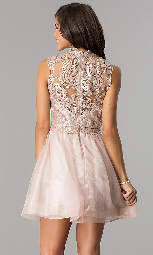 Image of mauve pink short homecoming party dress with sequins.  Style: MY-4680MT1P Back Image