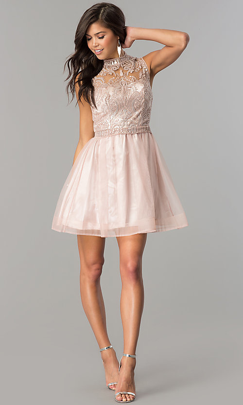 Image of mauve pink short homecoming party dress with sequins.  Style: MY-4680MT1P Detail Image 2