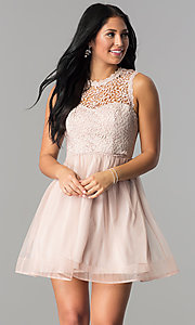 Image of short mauve pink homecoming dress with lace bodice. Style: MY-4681MT1P Front Image
