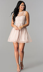 Image of short mauve pink homecoming dress with lace bodice. Style: MY-4681MT1P Detail Image 1