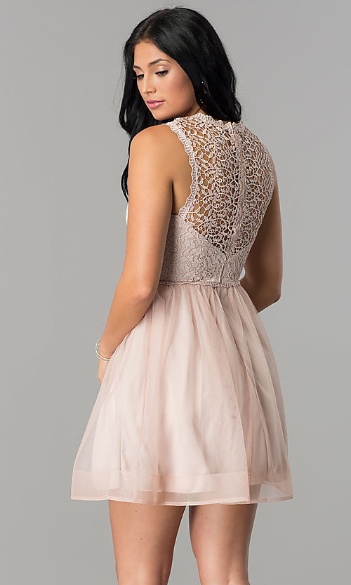 Image of short mauve pink homecoming dress with lace bodice. Style: MY-4681MT1P Back Image