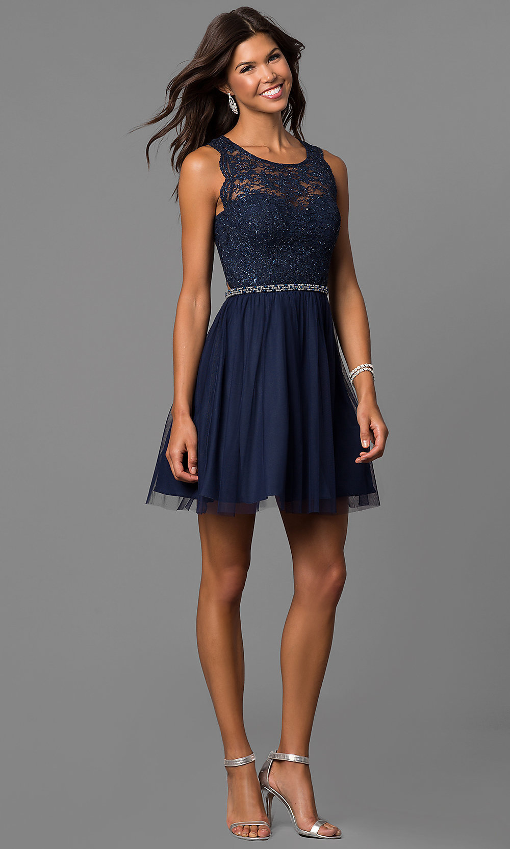 Short Navy Blue Homecoming Party Dress