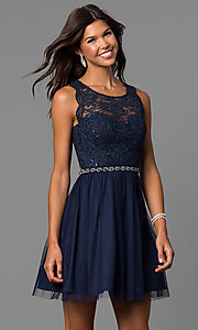 Image of short navy blue homecoming party dress with lace.  Style: MY-4730TS1P Front Image