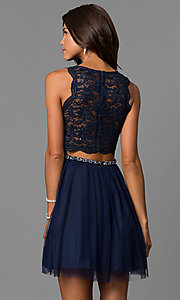 Image of short navy blue homecoming party dress with lace.  Style: MY-4730TS1P Back Image