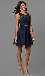 Image of short navy blue homecoming party dress with lace.  Style: MY-4730TS1P Detail Image 1