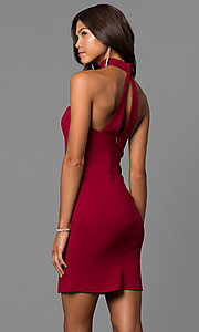 Image of merlot red short party dress with choker collar. Style: MY-4766US1C Front Image