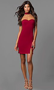Image of merlot red short party dress with choker collar. Style: MY-4766US1C Detail Image 1