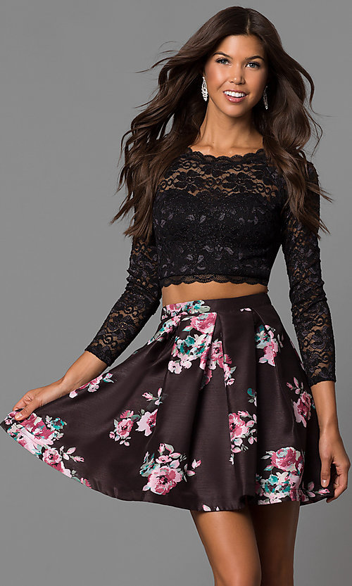 Image of long-sleeve two-piece short black homecoming dress.  Style: MY-9570PZ1P Front Image
