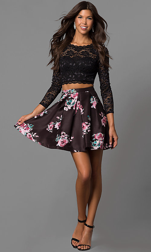 Image of long-sleeve two-piece short black homecoming dress.  Style: MY-9570PZ1P Detail Image 1
