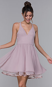 Image of chiffon short v-neck homecoming dress with lace back.  Style: LP-24744 Detail Image 7