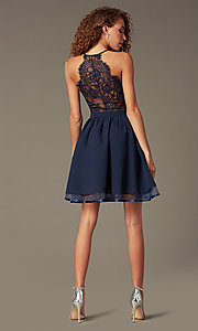 Image of chiffon short v-neck homecoming dress with lace back.  Style: LP-24744 Back Image