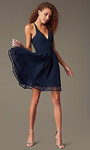 Image of chiffon short v-neck homecoming dress with lace back.  Style: LP-24744 Front Image