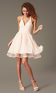 Image of chiffon short v-neck homecoming dress with lace back.  Style: LP-24744 Detail Image 2