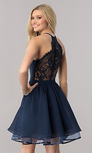 52dc8809f6 Chiffon Short V-Neck Homecoming Dress with Lace Back