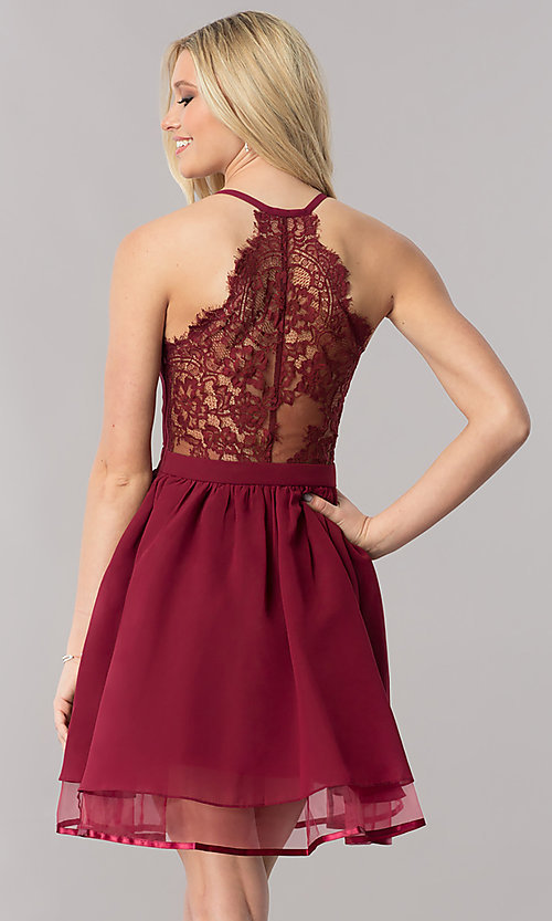Image of chiffon short v-neck homecoming dress with lace back.  Style: LP-24744 Detail Image 1
