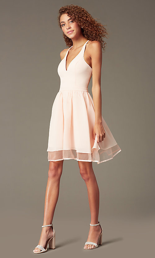 Image of chiffon short v-neck homecoming dress with lace back.  Style: LP-24744 Detail Image 5