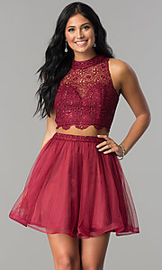 Image of two-piece short burgundy homecoming dress with lace.  Style: LP-97017 Front Image
