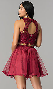 Image of two-piece short burgundy homecoming dress with lace.  Style: LP-97017 Back Image