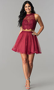 Image of two-piece short burgundy homecoming dress with lace.  Style: LP-97017 Detail Image 2