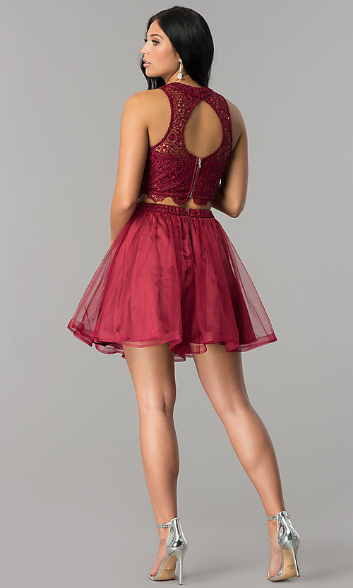 Image of two-piece short burgundy homecoming dress with lace.  Style: LP-97017 Detail Image 3