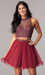Image of short two-piece burgundy homecoming dress with tulle.  Style: LP-97026 Front Image