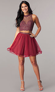 Image of short two-piece burgundy homecoming dress with tulle.  Style: LP-97026 Detail Image 1