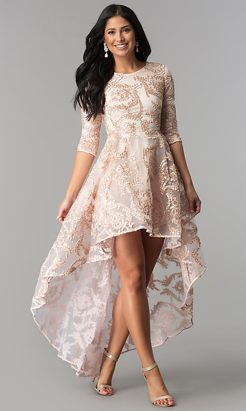 High Low Sleeved Party Dress In Blush Pink