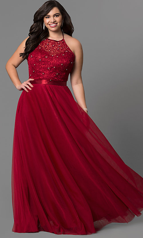 Long Formal Plus Size Halter Dress With Embroidery
