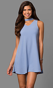 Image of cut-out short shift party dress with choker collar. Style: CH-2912 Detail Image 1