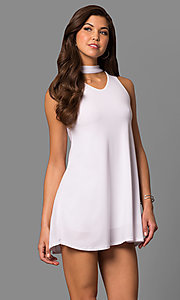 Image of cut-out short shift party dress with choker collar. Style: CH-2912 Front Image