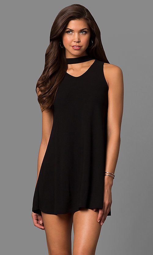 Image of cut-out short shift party dress with choker collar. Style: CH-2912 Detail Image 3