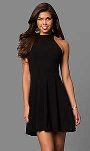 Image of short a-line high-halter little black party dress. Style: CH-2910 Front Image