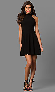 Image of short a-line high-halter little black party dress. Style: CH-2910 Detail Image 1