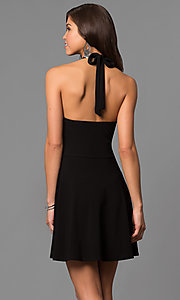 Image of short a-line high-halter little black party dress. Style: CH-2910 Back Image