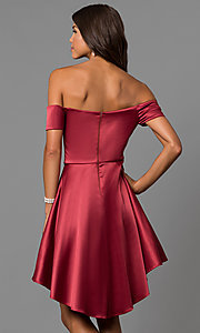 Image of high-low off-the-shoulder merlot red homecoming dress. Style: MY-9539MB1P Back Image
