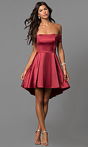 Image of high-low off-the-shoulder merlot red homecoming dress. Style: MY-9539MB1P Detail Image 1