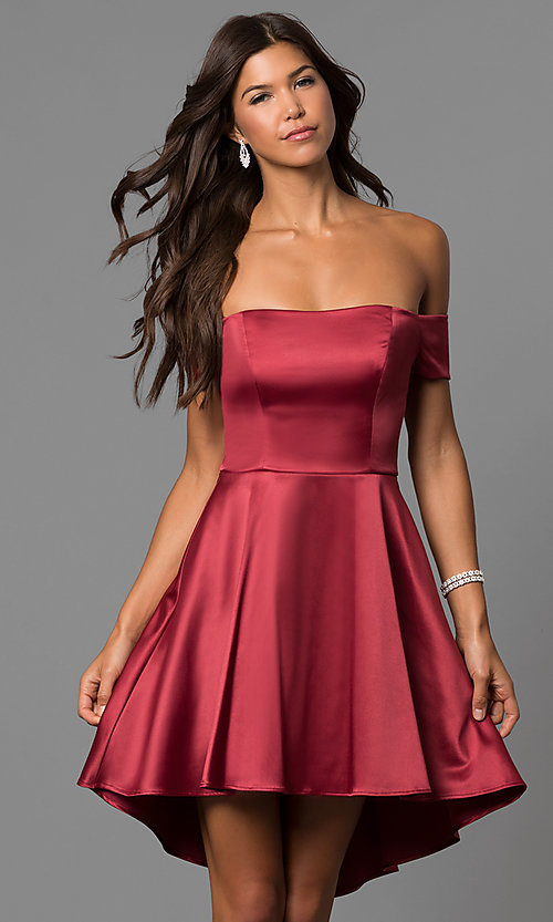 Image of high-low off-the-shoulder merlot red homecoming dress. Style: MY-9539MB1P Front Image