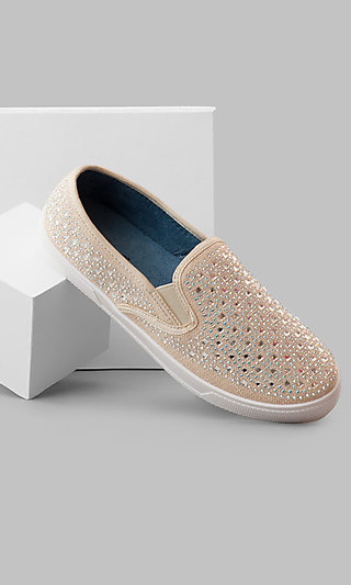 Nude Slip-On Prom Sneakers