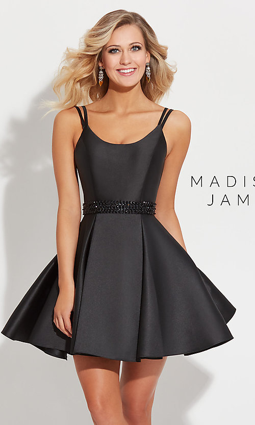 Image of Madison James short prom dress with beaded waist. Style: NM-17-508 Detail Image 2